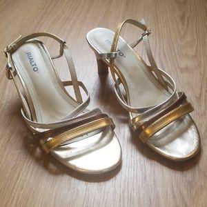 Metallic gold & silver Rialto size 8 heels